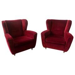 Pair of Vintage Bergères Armchairs, Red Velvet, 1960, Italy