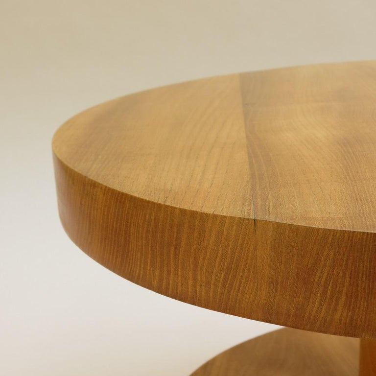 20th Century Pair of Vintage Bespoke Handmade Low Round Elm Side Tables For Sale