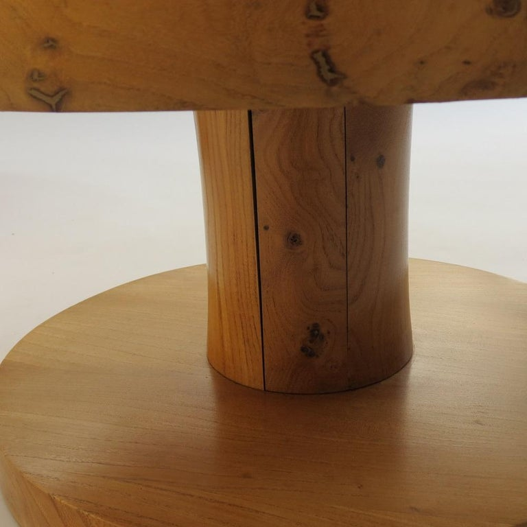 Pair of Vintage Bespoke Handmade Low Round Elm Side Tables For Sale 1