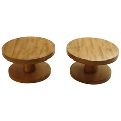 Pair of Vintage Bespoke Handmade Low Round Elm Side Tables