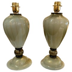 Pair of Vintage Black and Gold Murano Glass Lamps