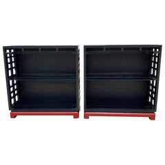 Pair of Vintage Black and Red Painted Wood Bookcases