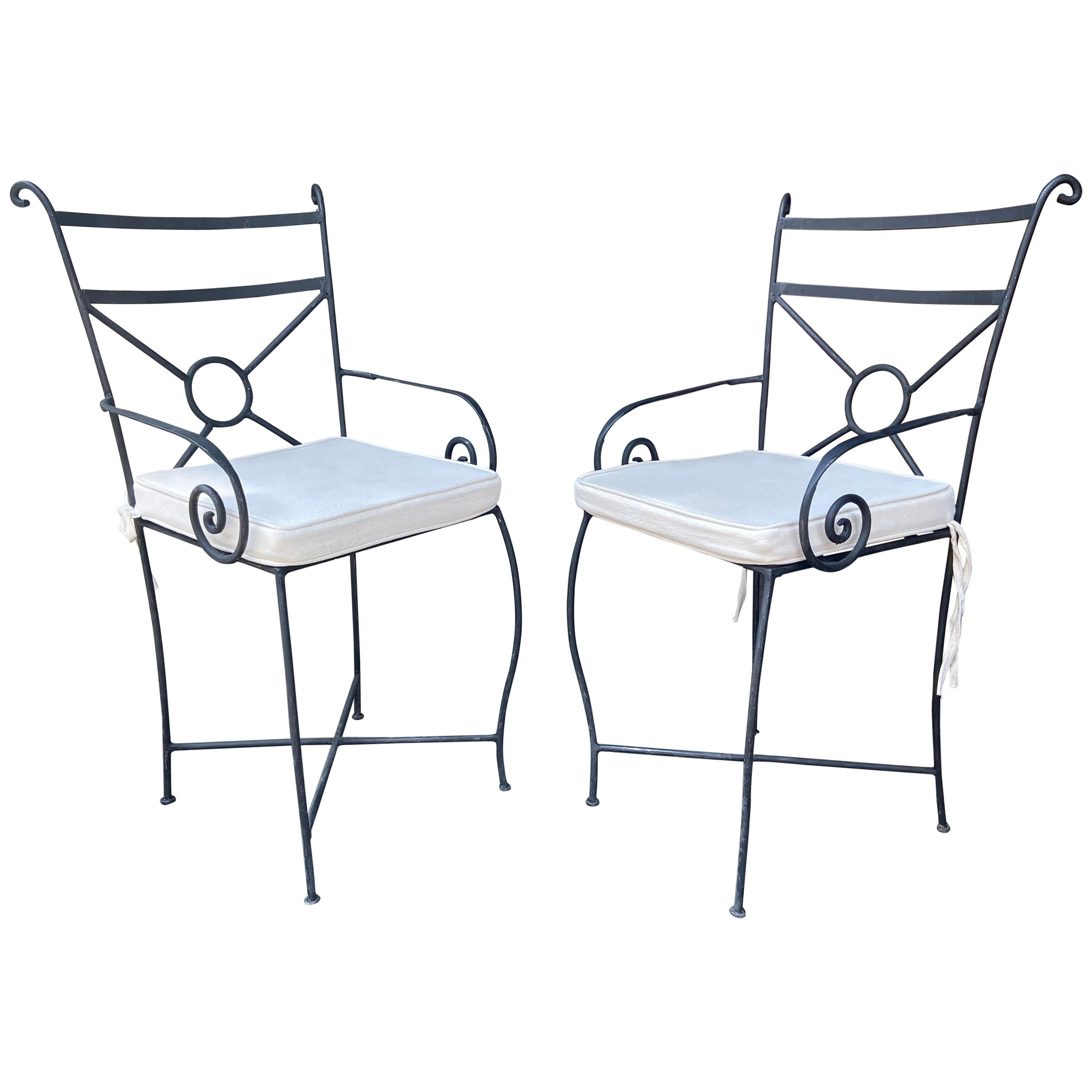 Pair of Vintage Black Garden Handcrafted Wrought Iron Chairs, Morocco