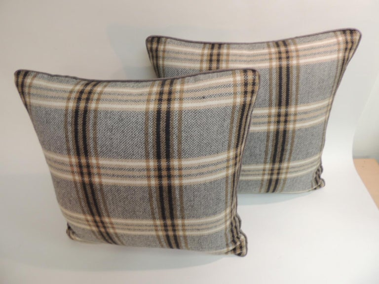French Pair of Vintage Black and Grey Tartan/Plaid Woven Wool Decorative Pillows