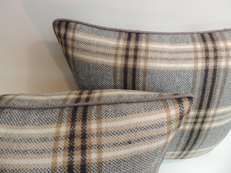 Hand-Crafted Pair of Vintage Black and Grey Tartan/Plaid Woven Wool Decorative Pillows