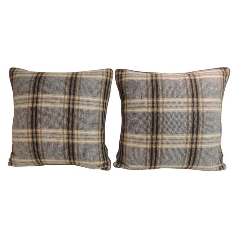 Pair of Vintage Black and Grey Tartan/Plaid Woven Wool Decorative Pillows