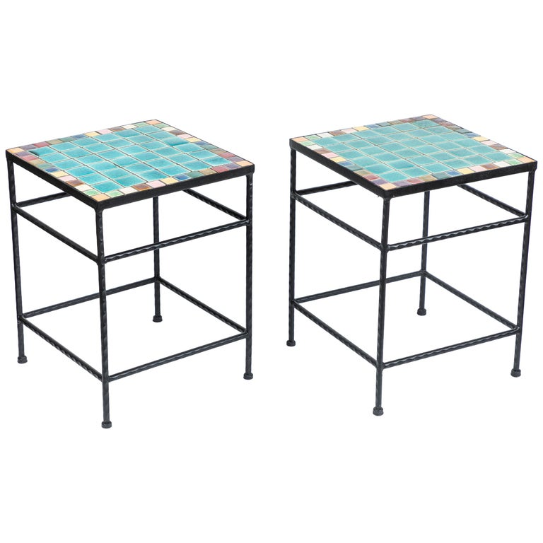 Pair Of Vintage Black Iron And Tile Top Side Tables For