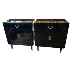 Pair of Vintage Black Lacquered Cabinets