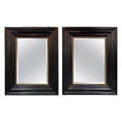Pair of Vintage Black Lacquered Mirrors with Beveled Glass