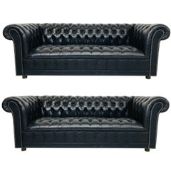 Pair of Vintage Black Leather Chesterfield Settees