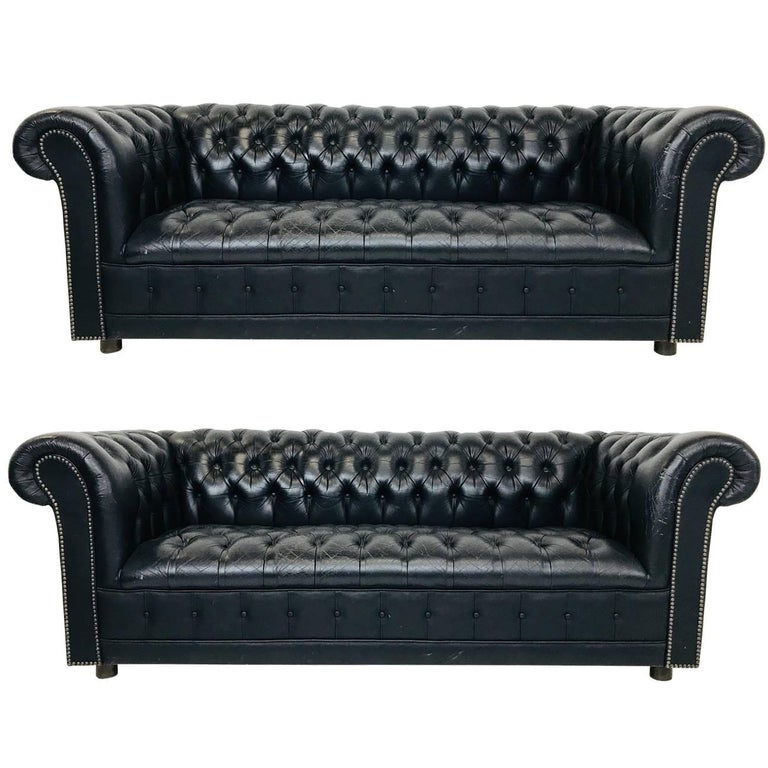 Vintage Black Leather Chesterfield Sofa: Pair Of Vintage Black Leather Chesterfield Settees At 1stdibs