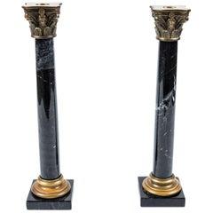 Pair of Vintage Black Marble Column Candlesticks