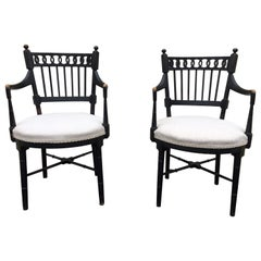 Pair of Vintage Black Painted Armchairs