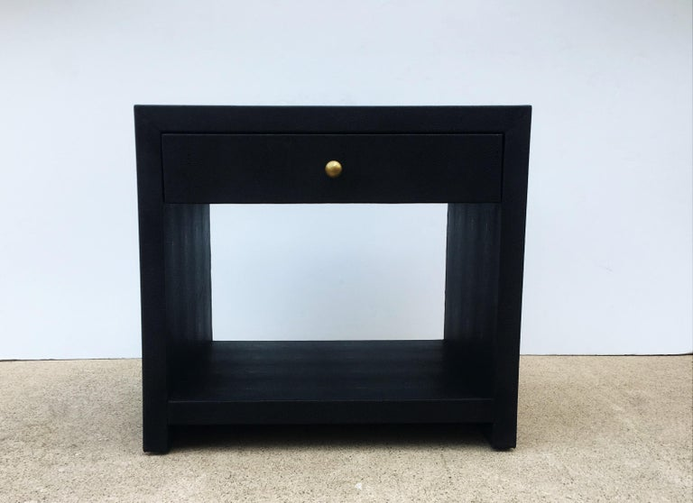 American Pair of Vintage Black Shagreen Nightstands/Side Tables For Sale