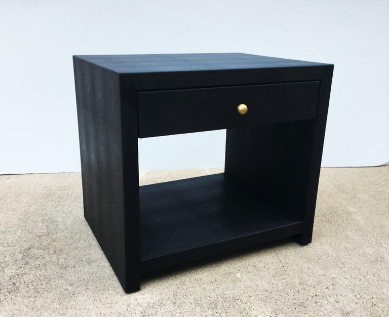 Pair of Vintage Black Shagreen Nightstands/Side Tables In Good Condition For Sale In Dallas, TX