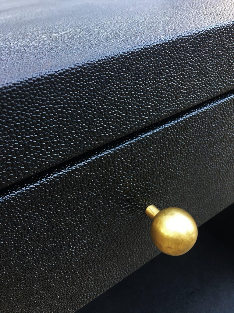 Pair of Vintage Black Shagreen Nightstands/Side Tables For Sale 1