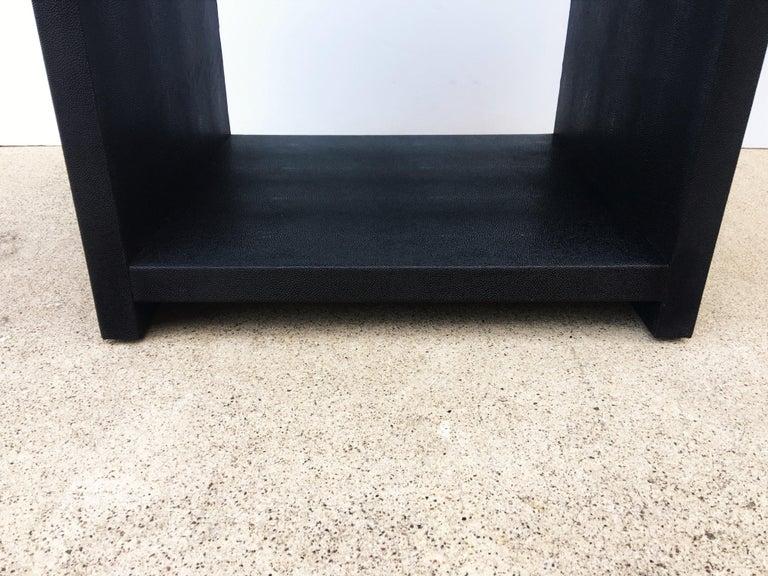 Pair of Vintage Black Shagreen Nightstands/Side Tables For Sale 2