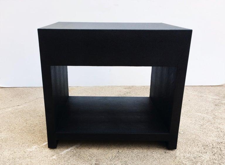 Pair of Vintage Black Shagreen Nightstands/Side Tables For Sale 3