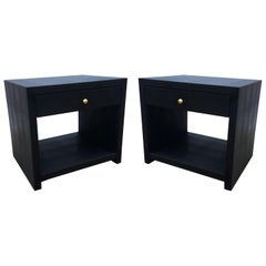 Pair of Vintage Black Shagreen Nightstands/Side Tables