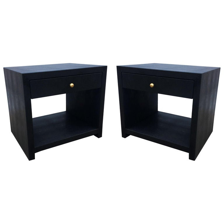 Pair of Vintage Black Shagreen Nightstands/Side Tables For Sale