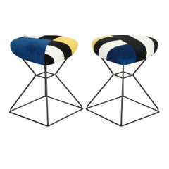 Pair of Vintage Black Triangular Shaped Iron Stools with Custom Ultra-Suede Top