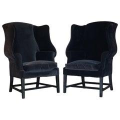 Pair of Vintage Black Velvet Upholstered George Hepplewhite Wingback Armchairs