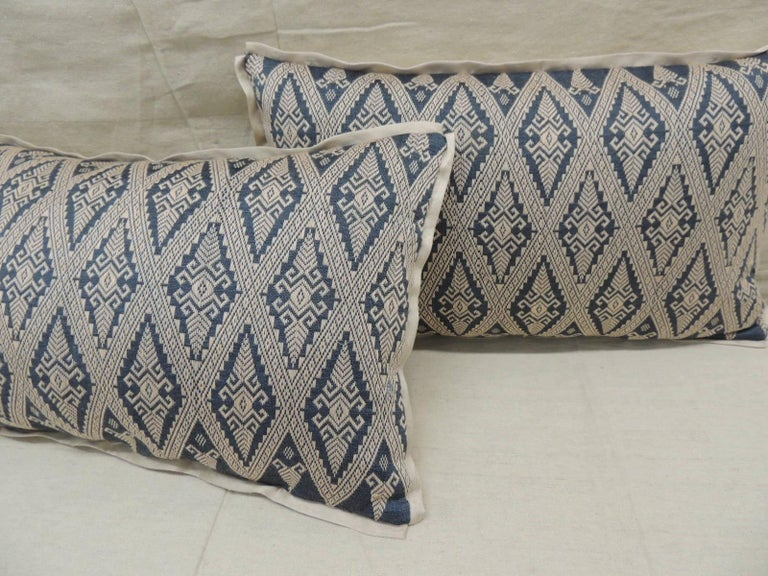 Tribal Pair of Vintage Blue and Beige Asian Silk Woven Lumbar Decorative Pillows For Sale
