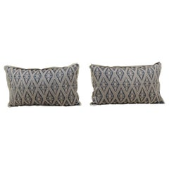 Pair of Vintage Blue and Beige Asian Silk Woven Lumbar Decorative Pillows