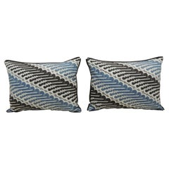 Pair of Vintage Blue and Black Hand-Blocked Batik Decorative Bolster Pillows