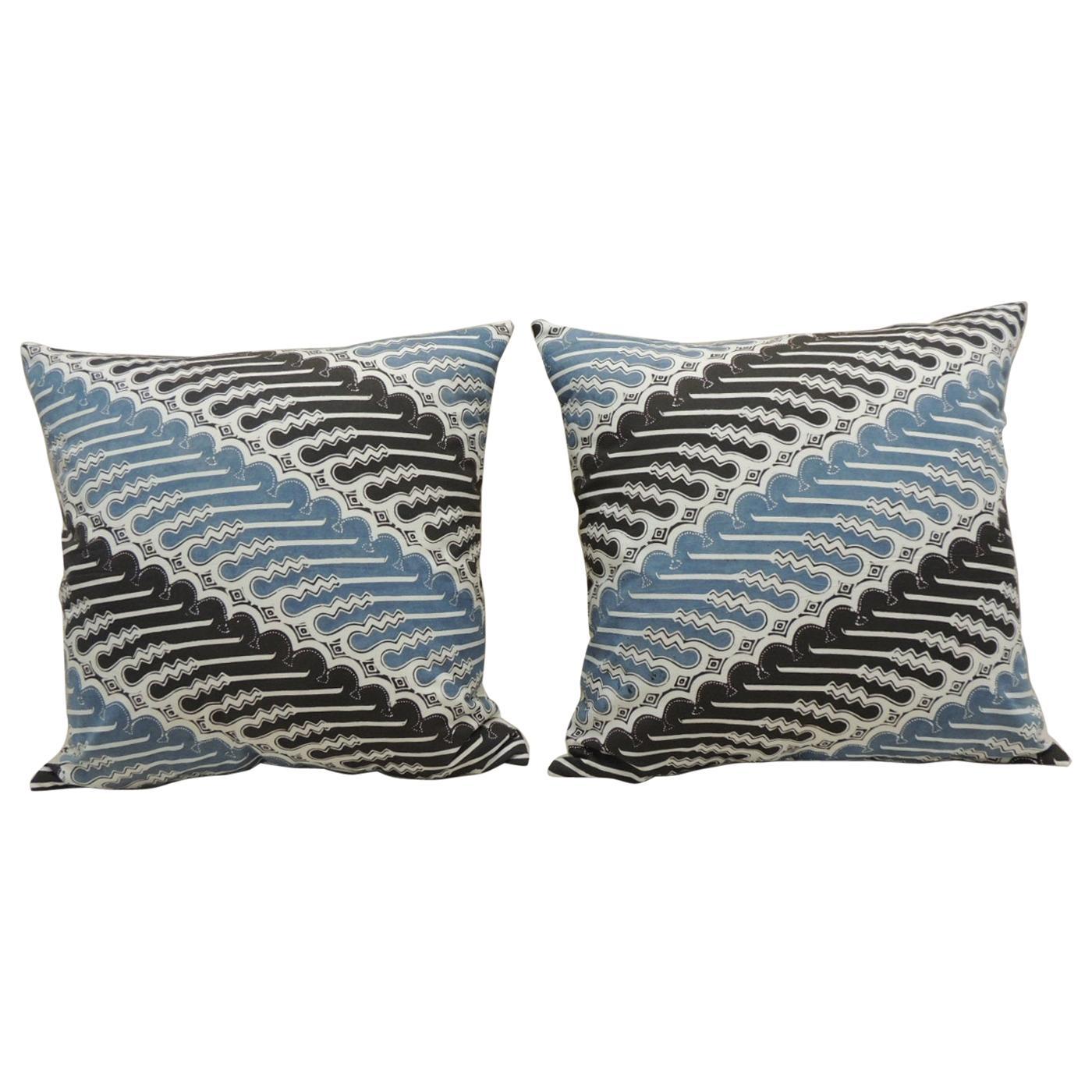 Pair of Vintage Blue and Black Hand-Blocked Batik Decorative Square Pillows