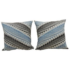 Pair of Vintage Blue and Black Hand-Blocked Batik Decorative Square Pillows