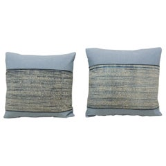 Pair of Vintage Blue and Natural Hand-Blocked Tribal Batik Decorative Pillows