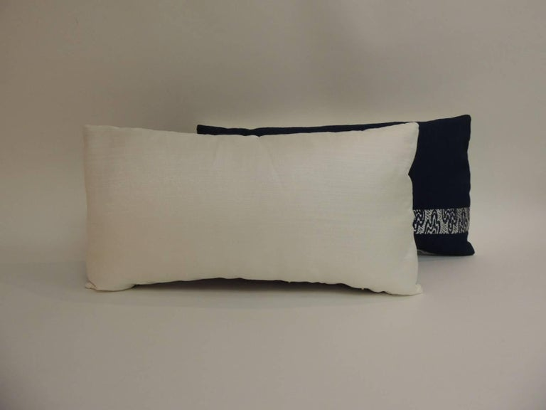 Hand-Crafted Pair of Vintage Blue and Silver Woven Obi Textiles Lumbar Pillows For Sale