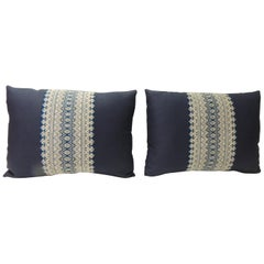 Pair of Vintage Blue and White Embroidered Asian Decorative Lumbar Pillows