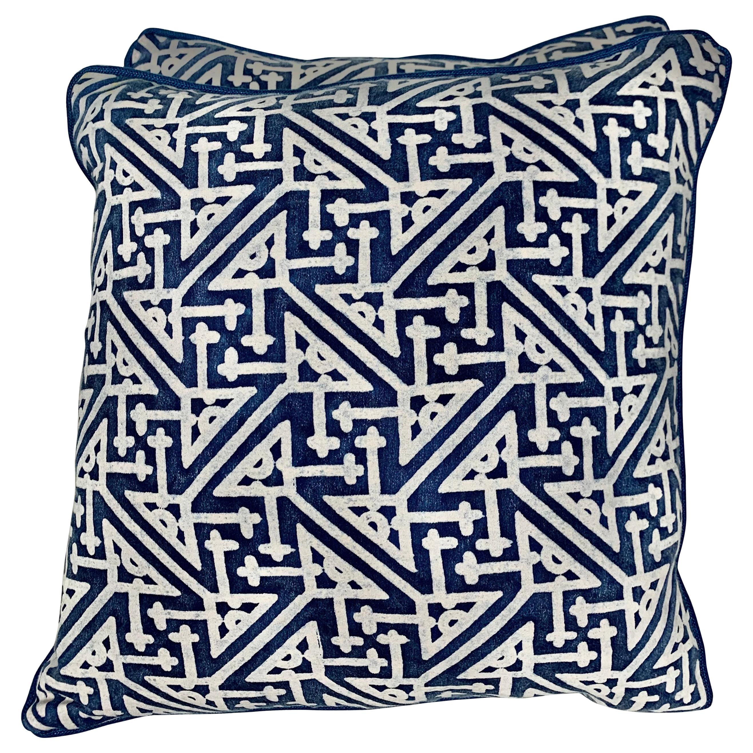 Pair of Vintage Blue and White Fortuny Pillows