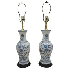 Pair of Vintage Blue and White Imari Table Lamps