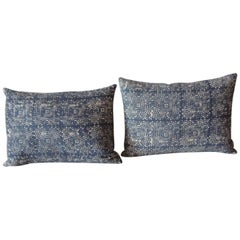 Pair of Vintage Blue and White Petite Hand-Blocked Batik Decorative Pillows