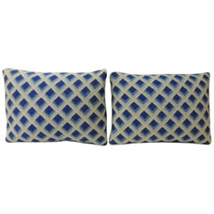 Pair of Vintage Blue and White Tapestry Decorative Bolster Pillows