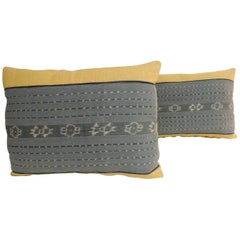Pair of Vintage Blue and Yellow Woven Ikat Bolster Decorative Pillows