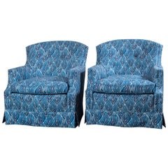 Pair of Vintage Blue Club Chairs, Newly Upholstered in Robert Kime Nara Fabric