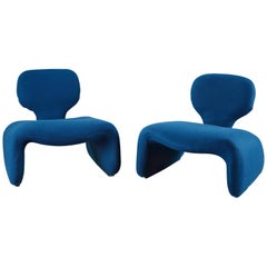 Pair of Vintage Blue Djinn Chairs by Olivier Mourgue for Airborne