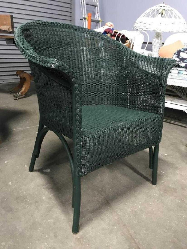 Streamlined Moderne Pair of Vintage Blue-Green Wicker Armchairs For Sale