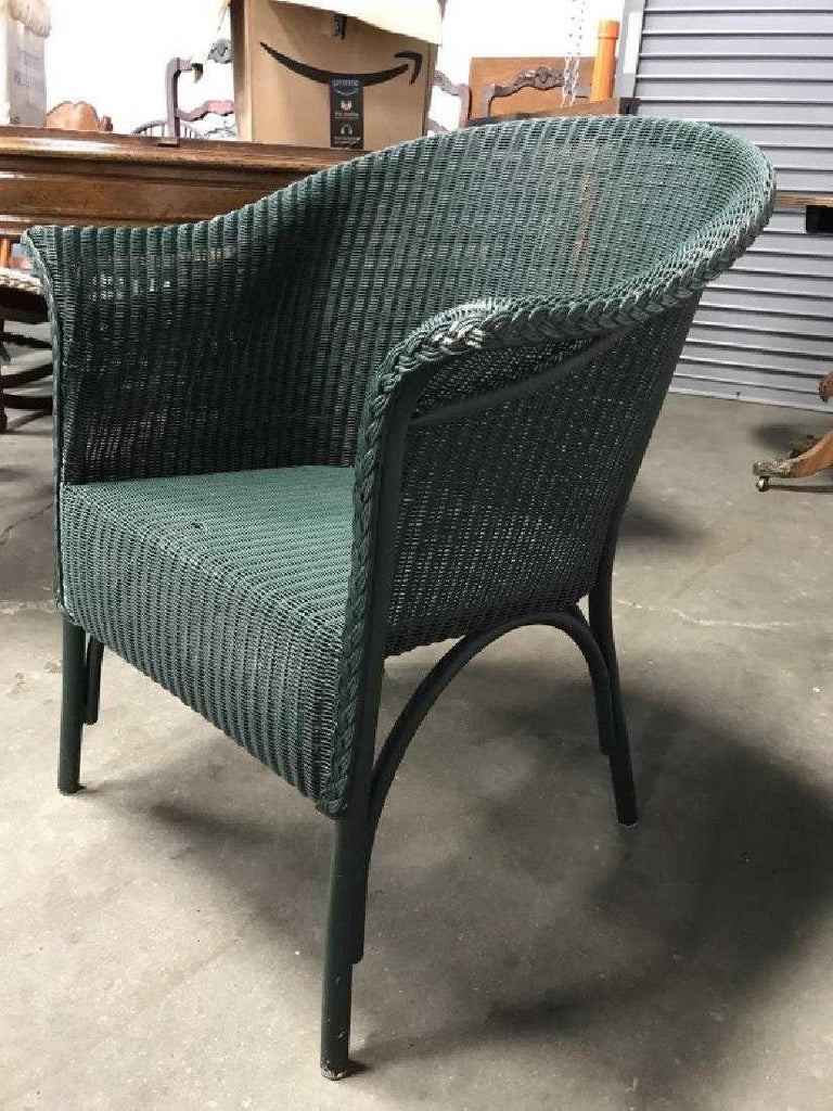 American Pair of Vintage Blue-Green Wicker Armchairs For Sale