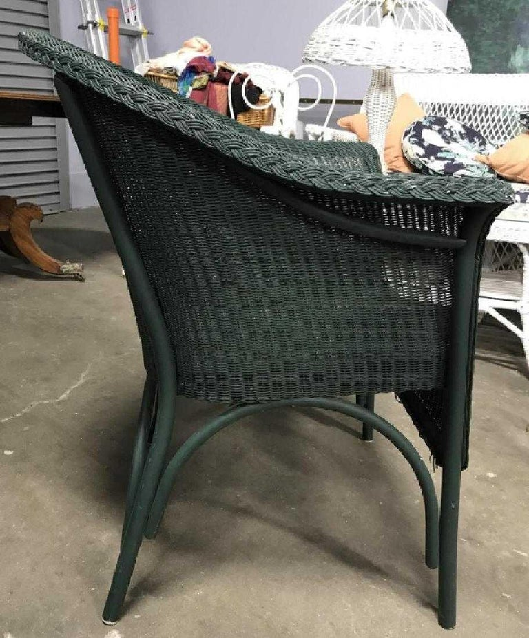 Woven Pair of Vintage Blue-Green Wicker Armchairs For Sale