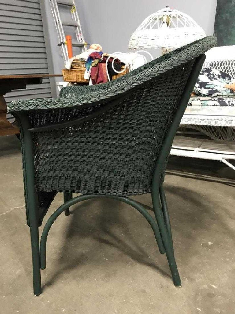 Early 20th Century Pair of Vintage Blue-Green Wicker Armchairs For Sale