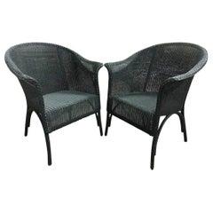Pair of Vintage Blue-Green Wicker Armchairs