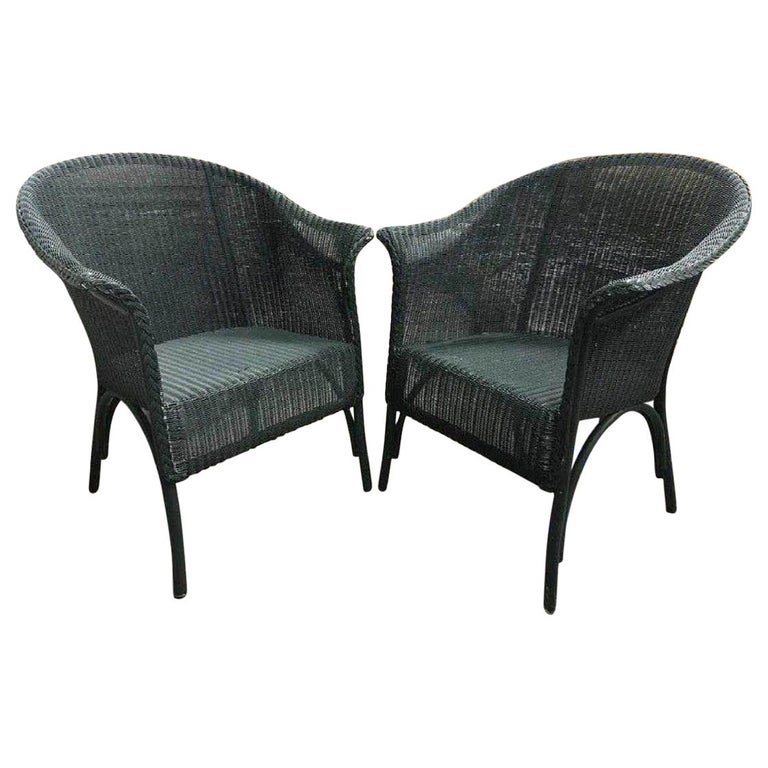 Pair of Vintage Blue-Green Wicker Armchairs For Sale