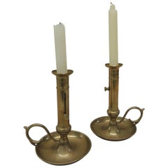 Pair of Vintage Brass Adjustable Push Up Candlesticks