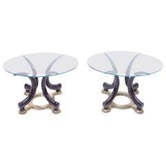 Pair of Vintage Brass and Faux Tusks Side or Coffee Tables, Ca 1970s