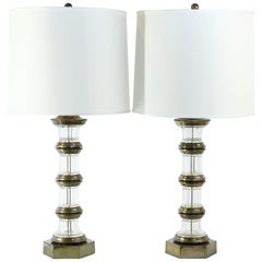 Pair of Vintage Brass and Glass Table Lamps